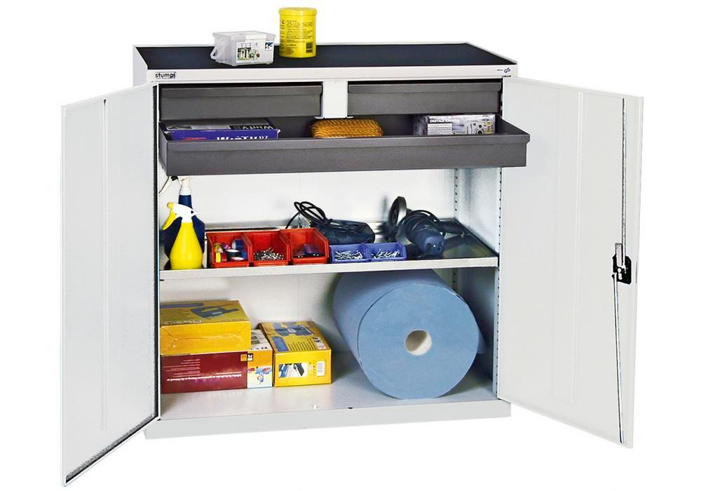 Tool and equipment cabinet Professional 3000, 3 drawers, 1 spill tray, grey, W 1000 mm