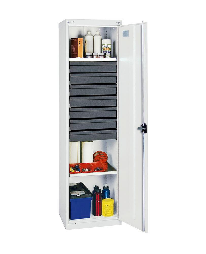 Tool and equipment cabinet Professional 3000, 7 drawers, 2 spill trays, grey, W 500 mm