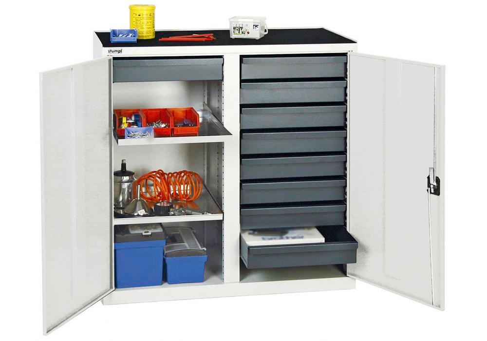 Tool and equipment cabinet Professional 3000, 9 drawers, 2 spill trays, grey, W 1000 mm