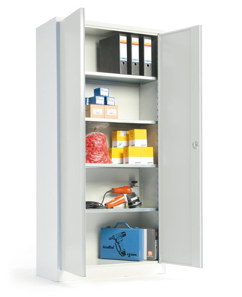 Tool cabinet Ever, body and doors grey, 4 shelves, width 1200, depth 420 mm, Model P-1200-4
