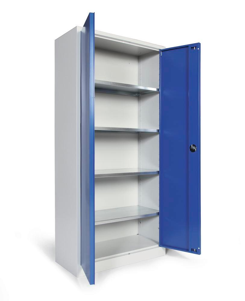 Tool storage cabinet Ever, body and doors grey/blue, 4 shelves, width 800 mm, Model P-800-4