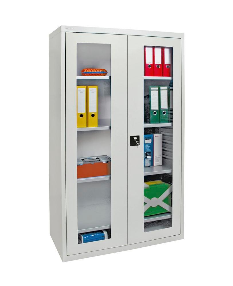 Viewing cabinets Esta, 4 galv. shelves, body and doors light grey, W 1000 mm, H 1800 mm