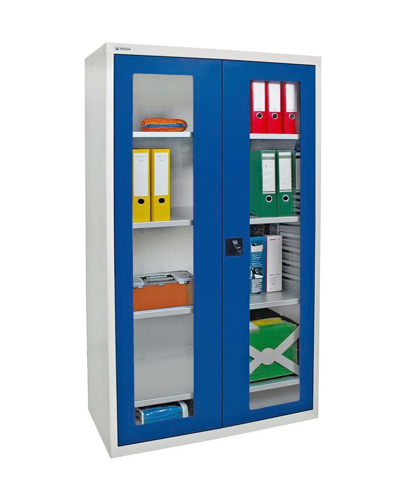 Viewing cabinets Esta, 4 shelves, body light grey, doors gentian blue, W 1000 mm, H 1800 mm