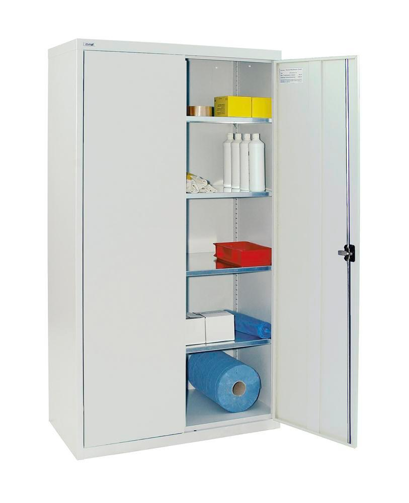 Wing door cabinet Esta, with 4 shelves galv. body and doors light grey, W 1000 mm, H 1800 mm
