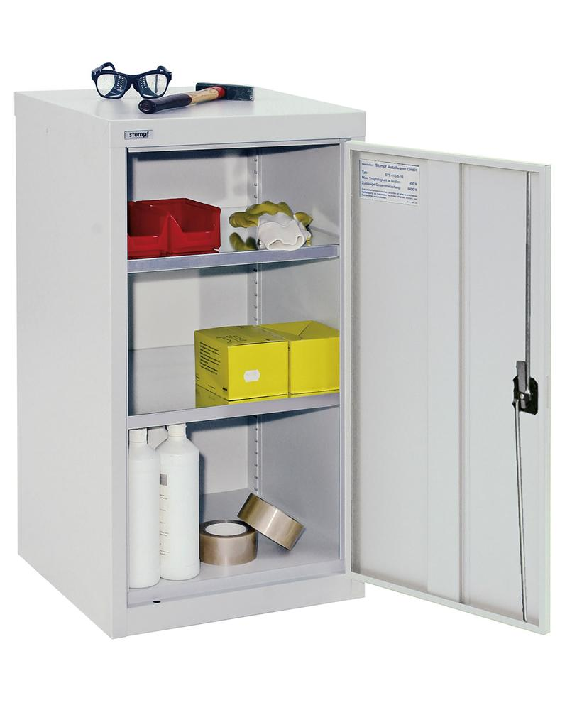 Wing door cabinet Esta, with galv. 2 shelves, body and door light grey, W 500 mm, H 900 mm