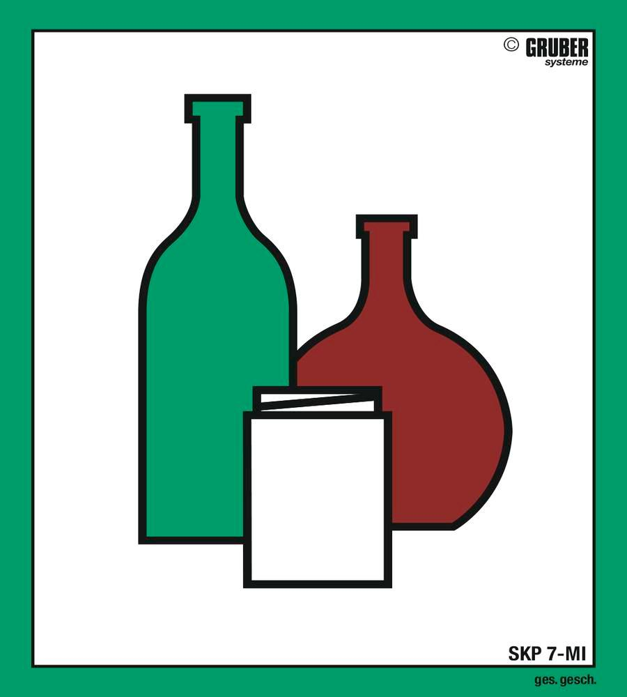 """10 labels with """"Coloured glass"""" pictogram, format 110 x 130 mm"""