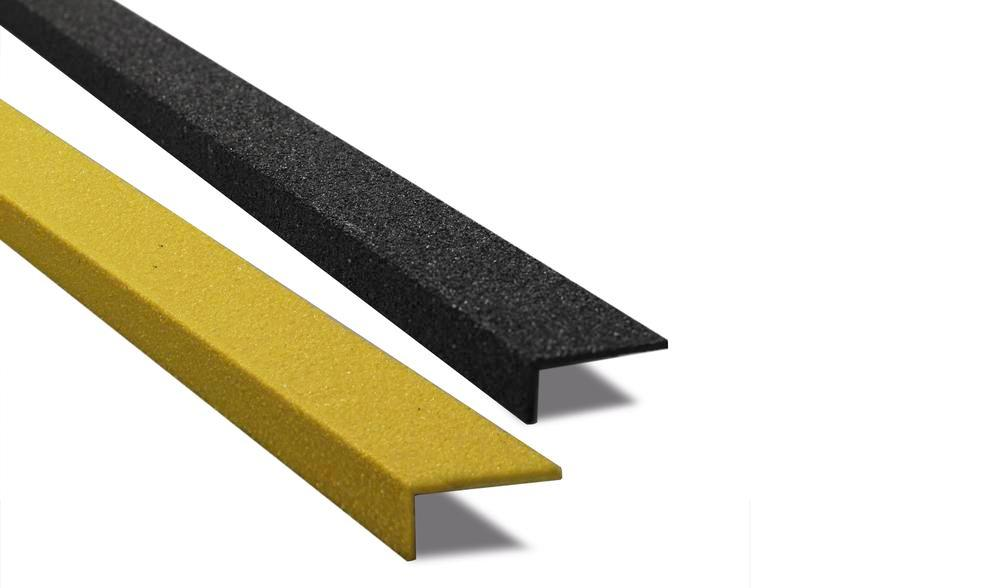 Antislip stair nosing GRP, D 230, W 600 mm, front 30 mm, black, front yellow, 1 piece