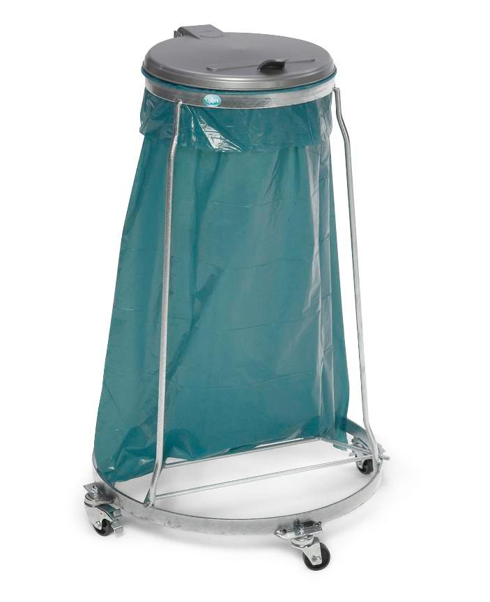 Bin bag stand, galvanized steel, with polyethylene llid, for 120 litre bin bags, mobile version