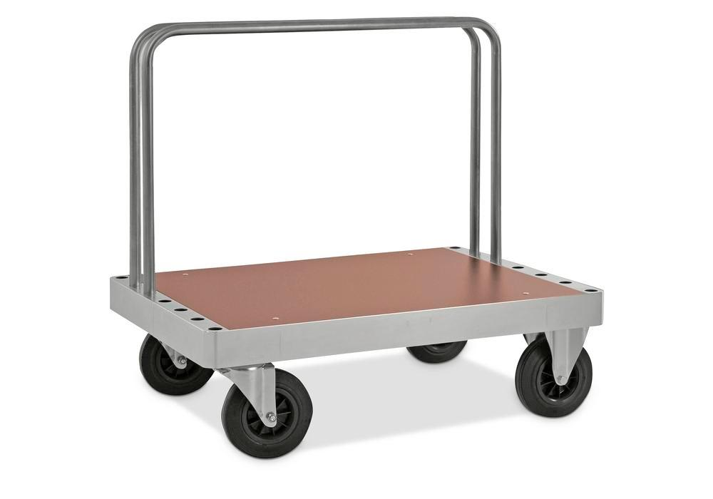 Board trolley KM for heavy loads, 800 Kg, 2 tubular frames, MDF coated boards, 1200x800 mm, brake