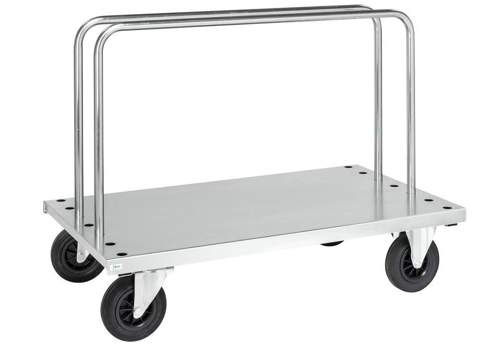 Board trolley KM galv. tube steel, 500 Kg, 2 tube frames, 1250x700 mm, solid rubber castors, brake