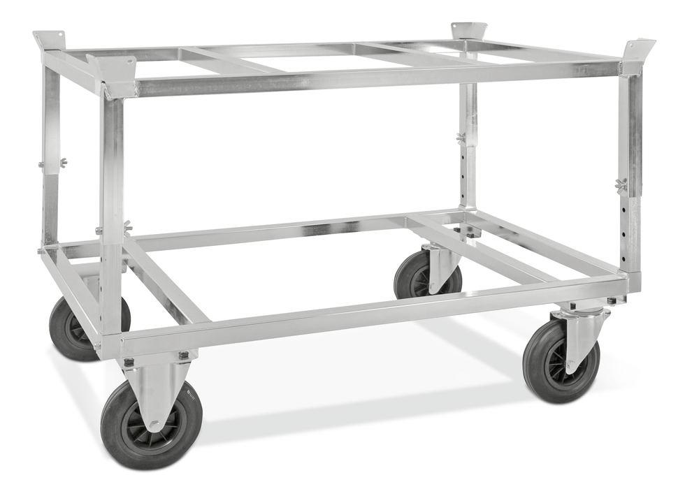 Chassis KM for Euro pallets, galvanised, height adjustable 655-835 mm, 800 Kg, solid rubber castors - 1