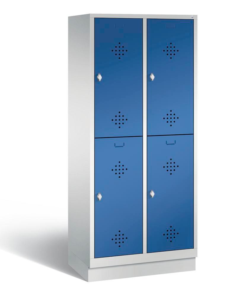 Double locker with base Cabo, 4 compartments, W 810, D 500, H 1800 mm, grey/blue