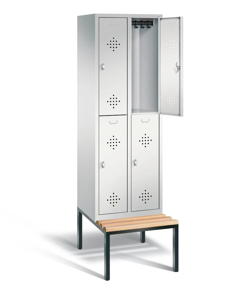 Double locker with bench Cabo, 4 compartments, W 610, H 2090, D 500/815, grey/grey - 2