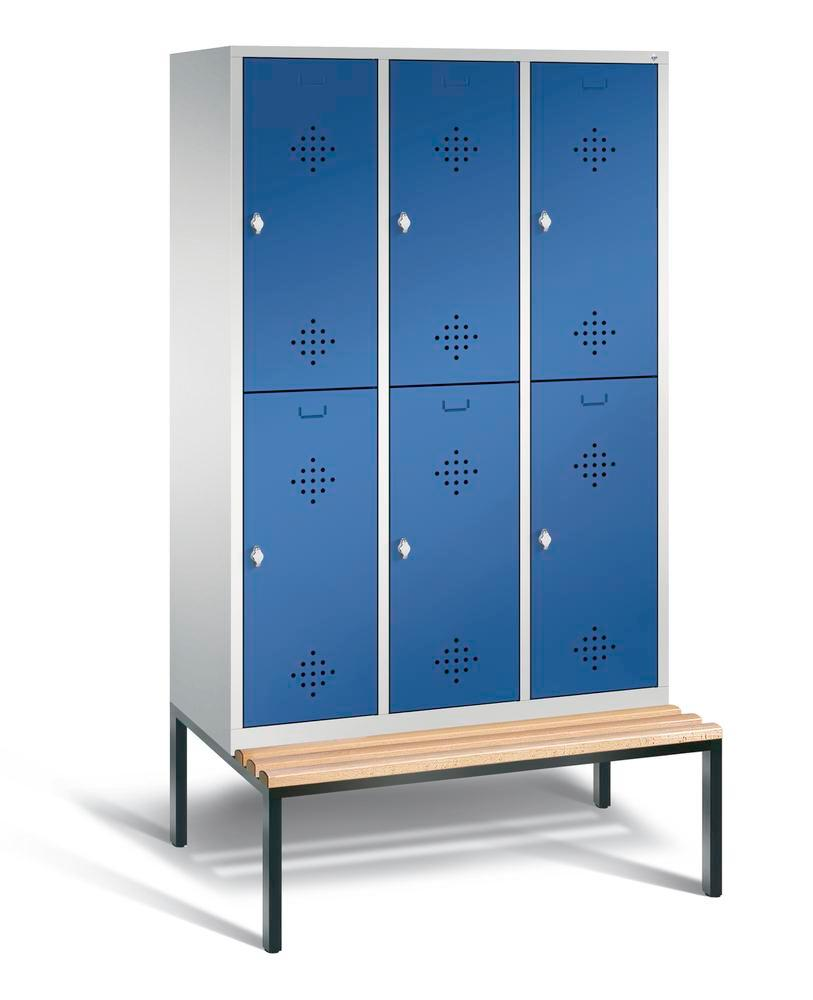 Double locker with bench Cabo, 6 compartments, W 1200, H 2090, D 500/815, grey/blue - 1