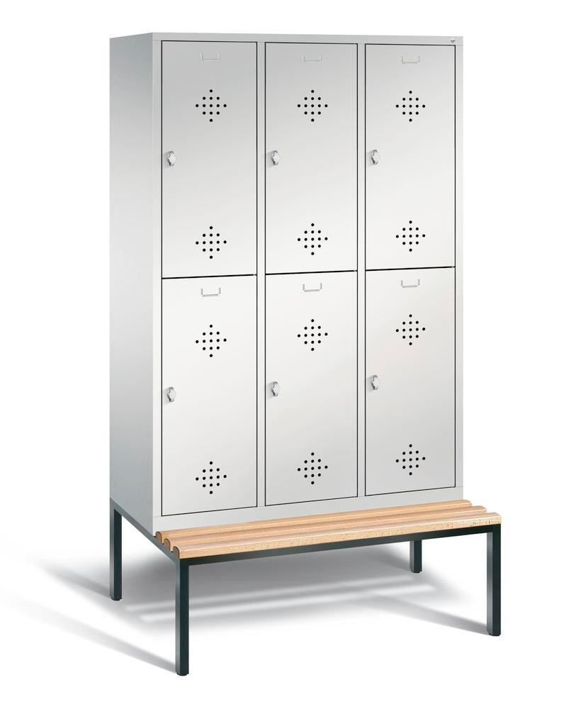 Double locker with bench Cabo, 6 compartments, W 1200, H 2090, D 500/815, grey/grey