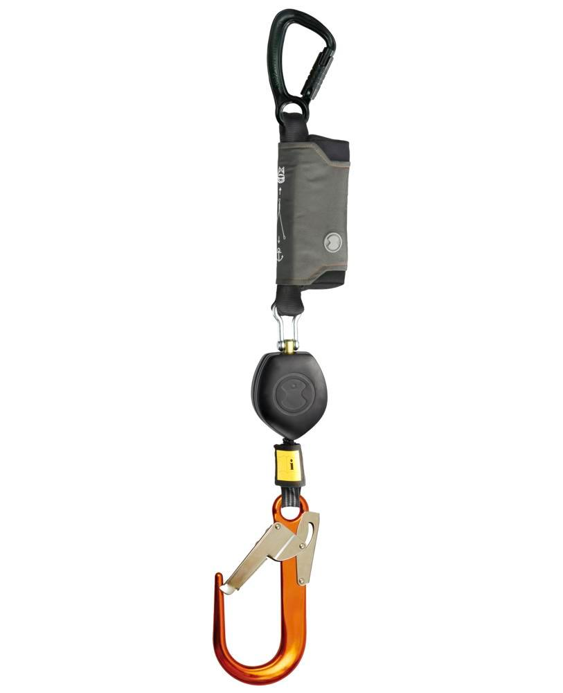 Fall arrest equipment Peanut I, for lift platforms, with plastic housing and belt strap, length 1.8m