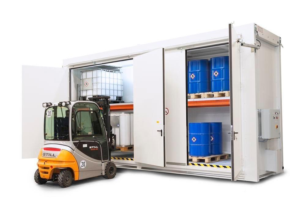 Fire-rated storage container RFP, storage container with shelving