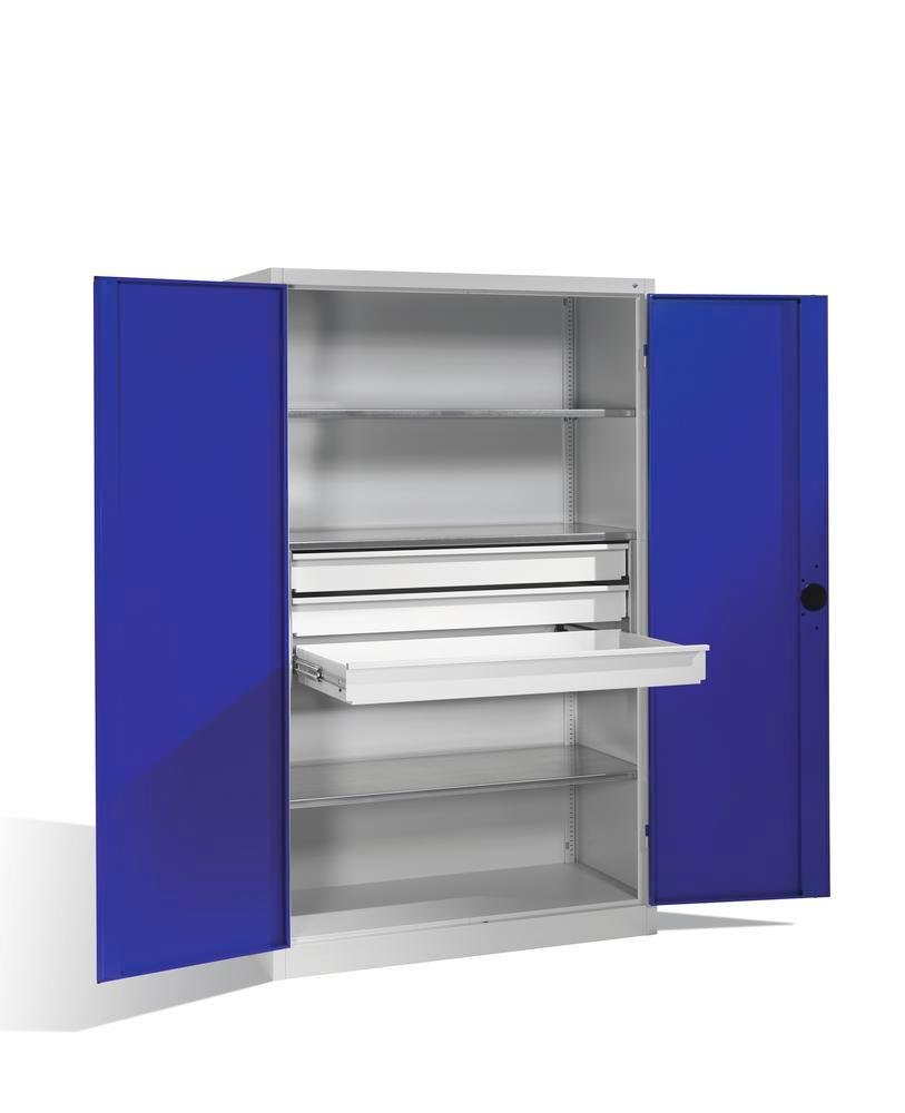 Heavy duty tool st cabinet Cabo, wing doors, 3 shelves, 3 draws, W 1200, D 500, H 1950 mm, grey/blue