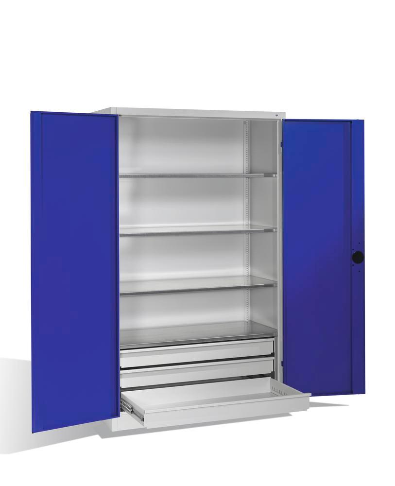 Heavy duty tool st cabinet Cabo, wing doors, 4 shelves, 3 draws, W 1200, D 500, H 1950 mm, grey/blue