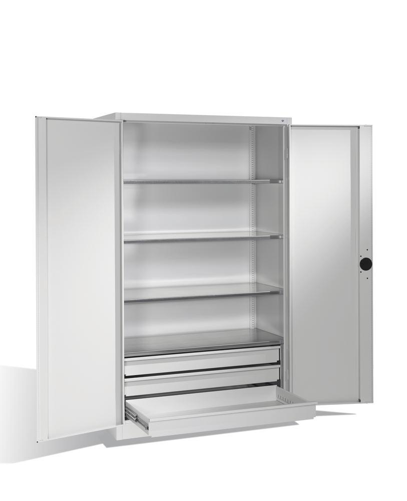 Heavy duty tool storage cabinet Cabo, wing doors, 4 shelves, 3 draws, W 1200, D 500, H 1950 mm, grey - 1