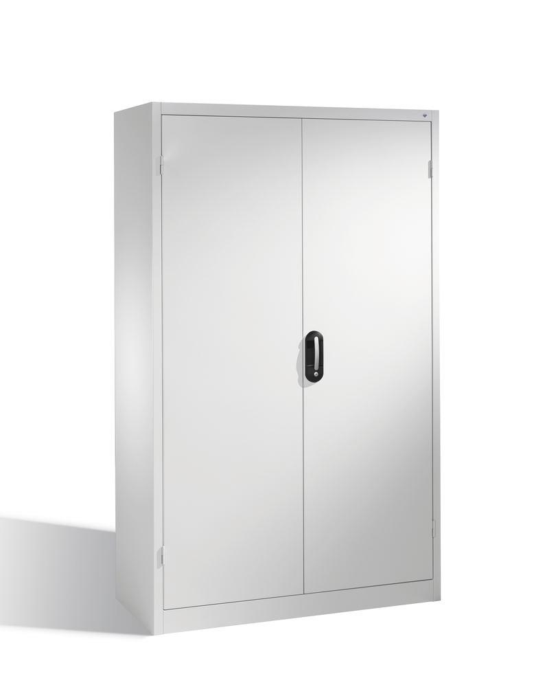 Heavy duty tool storage cabinet Cabo, wing doors, 4 shelves, W 1200, D 400, H 1950 mm, grey - 1