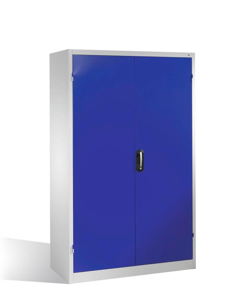 Heavy duty tool storage cabinet Cabo, wing doors, 4 shelves, W 1200, D 500, H 1950 mm, grey/blue - 1