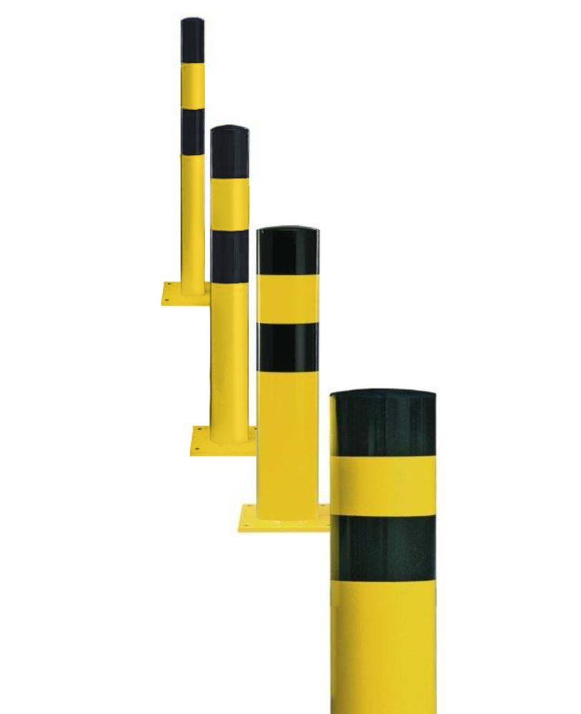 Impact protection bollard in steel for anchor bolts, Ø 90 mm, H 1200, yellow/black - 2
