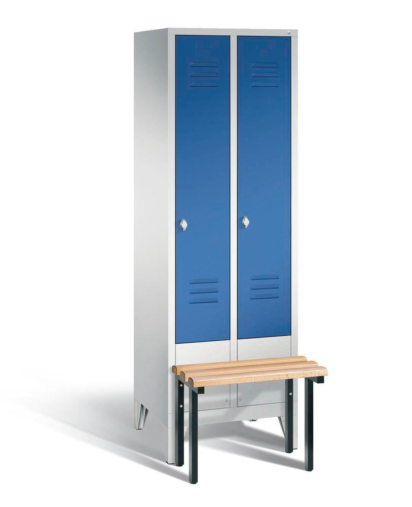 Locker with bench Cabo, 2 compartments, W 610, H 1850, D 500/815, grey/blue