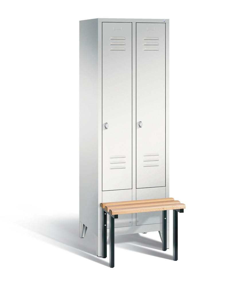 Locker with bench Cabo, 2 compartments, W 610, H 1850, D 500/815, grey/grey