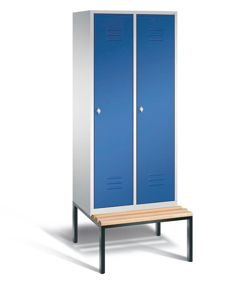 Locker with bench Cabo, 2 compartments, W 810, H 2090, D 500/815, grey/blue
