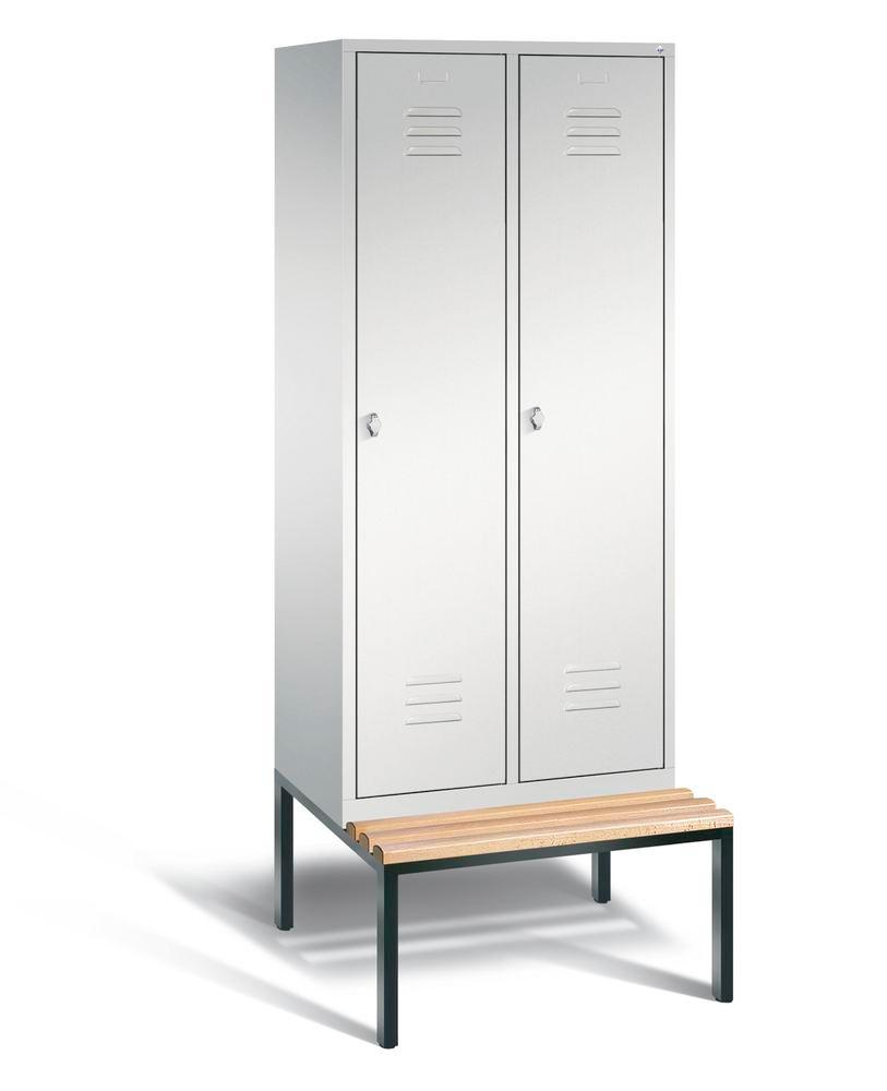 Locker with bench Cabo, 2 compartments, W 810, H 2090, D 500/815, grey/grey