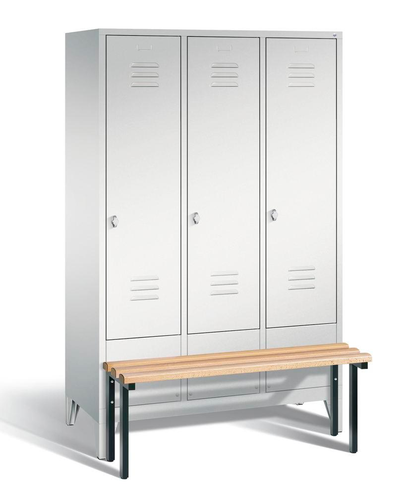 Locker with bench Cabo, 3 compartments, W 1200, H 1850, D 500/815, grey/grey
