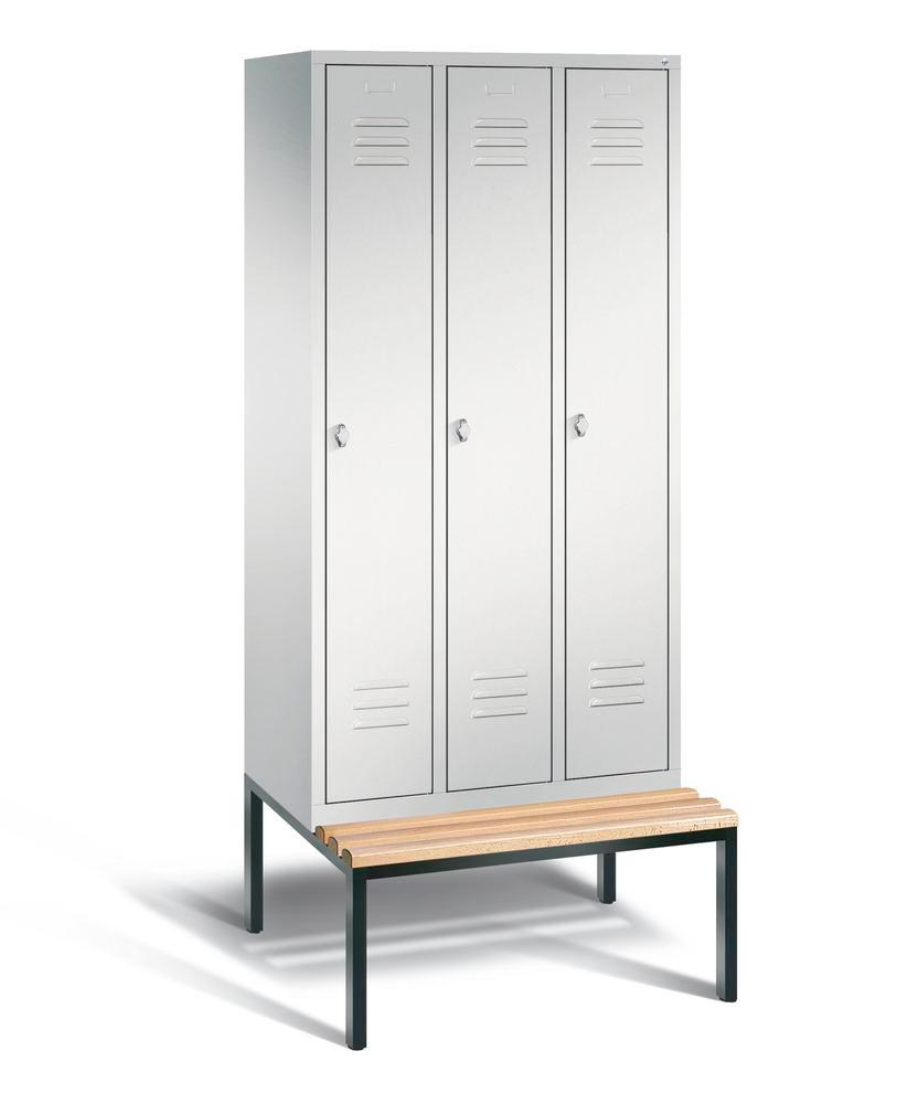 Locker with bench Cabo, 3 compartments, W 900, H 2090, D 500/815, grey/grey