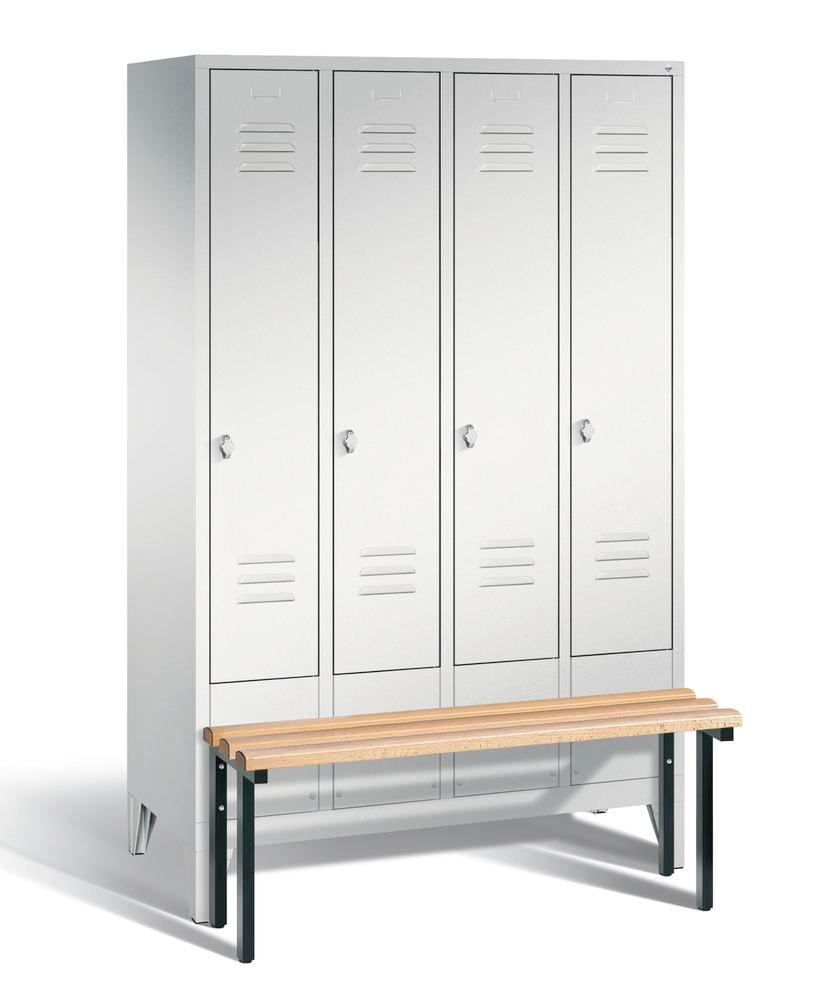Locker with bench Cabo, 4 compartments, W 1190, H 1850, D 500/815, grey/grey