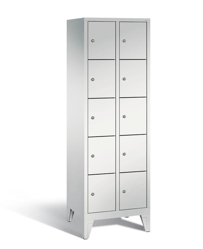 Locker with feet Cabo, 10 compartments, W 610, H 1850, D 500 mm, grey/grey