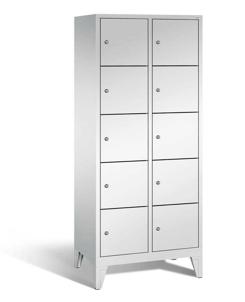 Locker with feet Cabo, 10 compartments, W 810, H 1850, D 500 mm, grey/grey