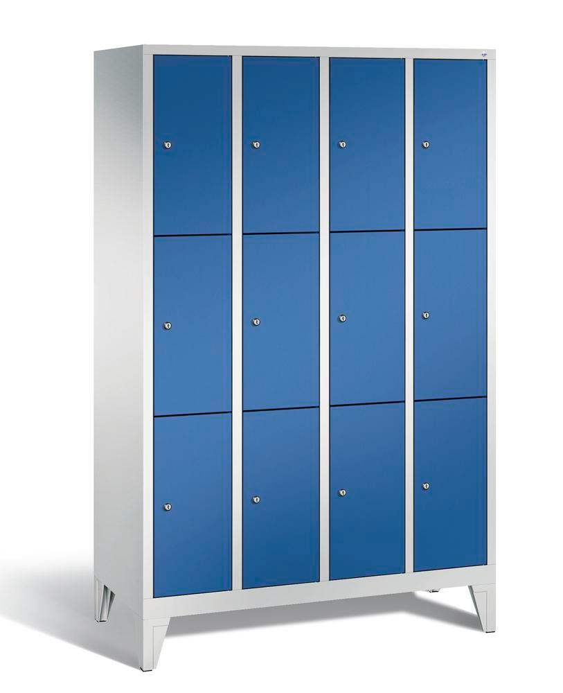 Locker with feet Cabo, 12 compartments, W 1190, H 1850, D 500 mm, grey/blue