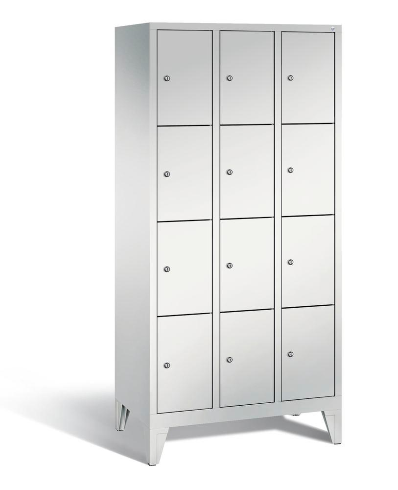 Locker with feet Cabo, 12 compartments, W 900, H 1850, D 500 mm, grey/grey