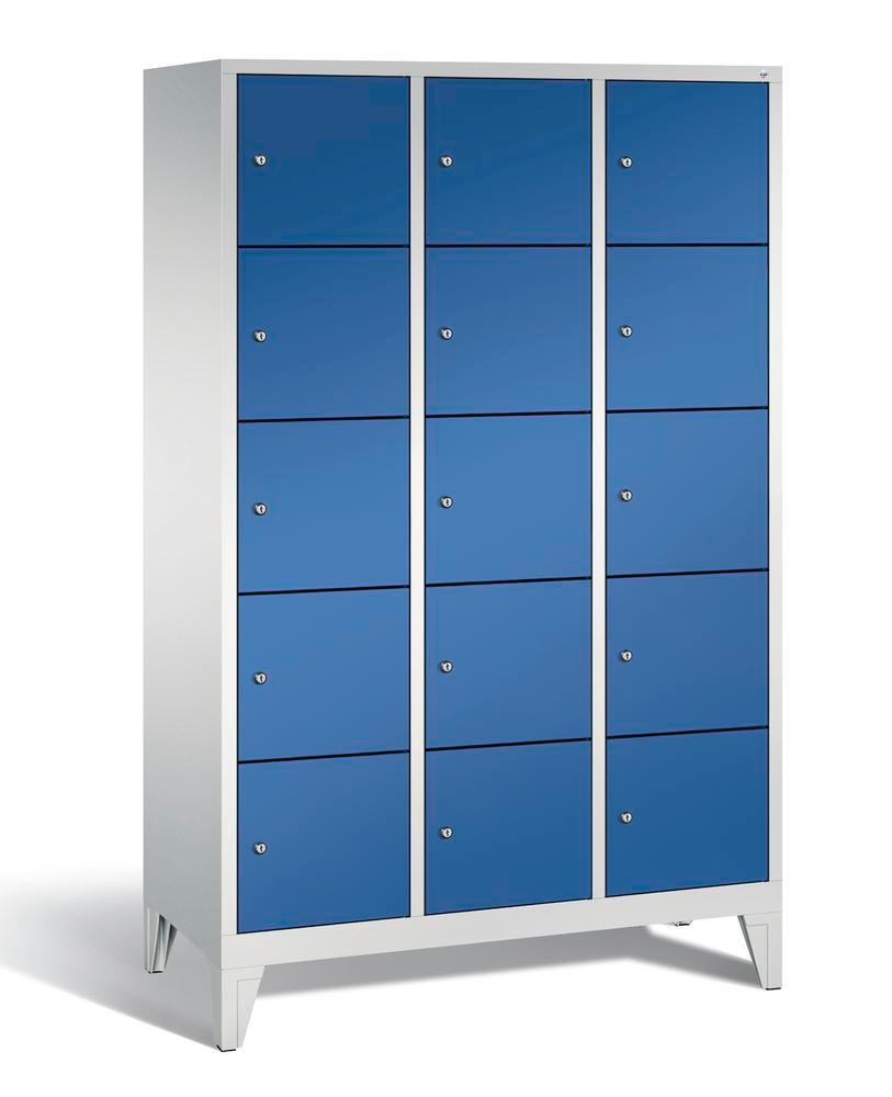 Locker with feet Cabo, 15 compartments, W 1200, H 1850, D 500 mm, grey/blue