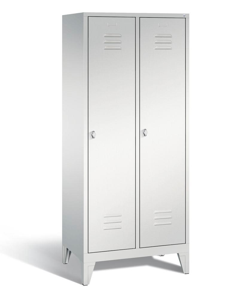Locker with feet Cabo, 2 compartments, W 810, H 1850, D 500 mm, grey/grey