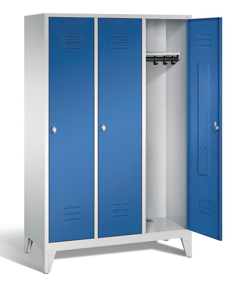 Locker with feet Cabo, 3 compartments, W 1200, H 1850, D 500 mm, grey/blue