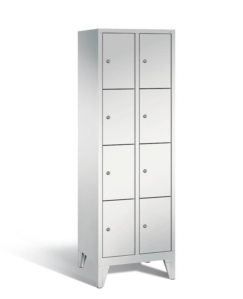 Locker with feet Cabo, 8 compartments, W 610, H 1850, D 500 mm, grey/grey