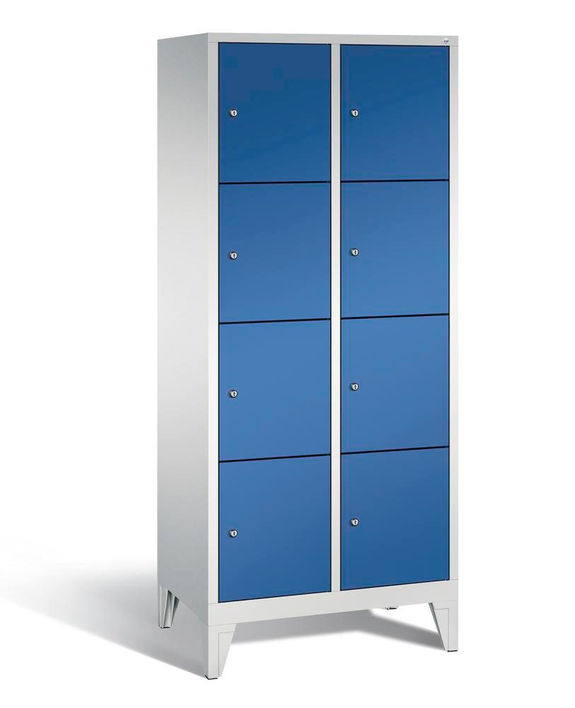 Locker with feet Cabo, 8 compartments, W 810, H 1850, D 500 mm, grey/blue