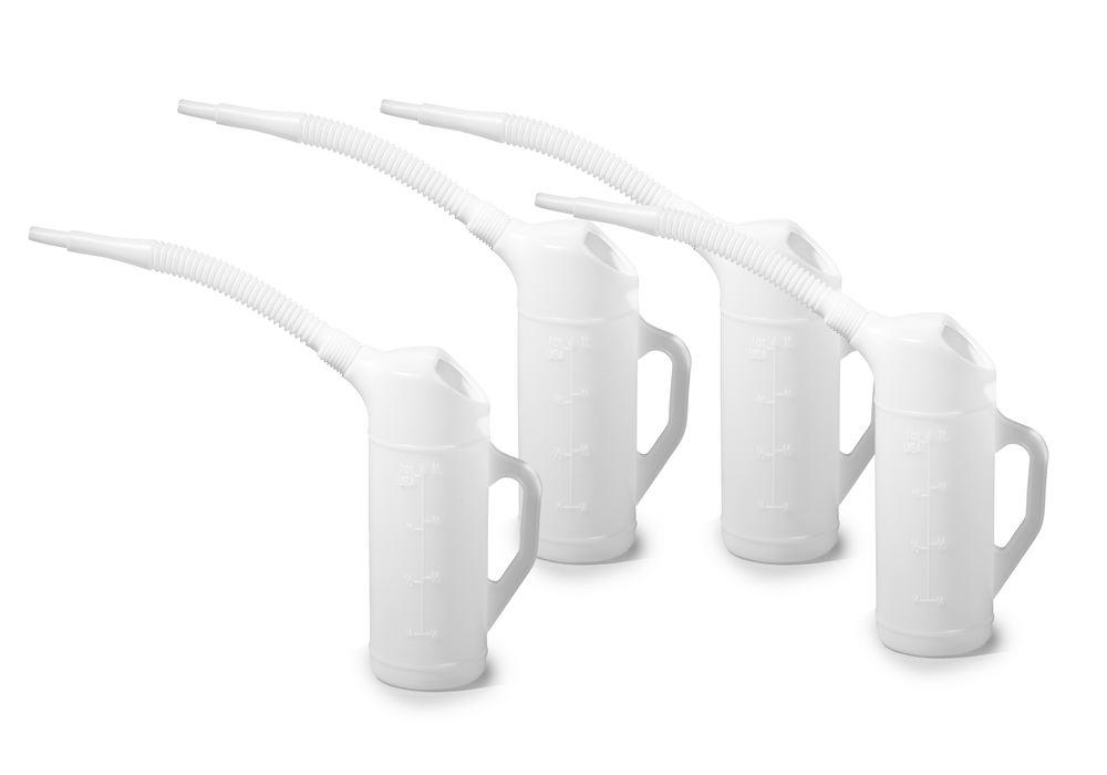 Measuring jug in PE with flexible spout, scale, 1.0 litre volume, 4 pieces