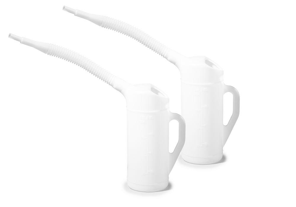 Measuring jug in PE with flexible spout, scale, 2.0 litre volume, 2 pieces