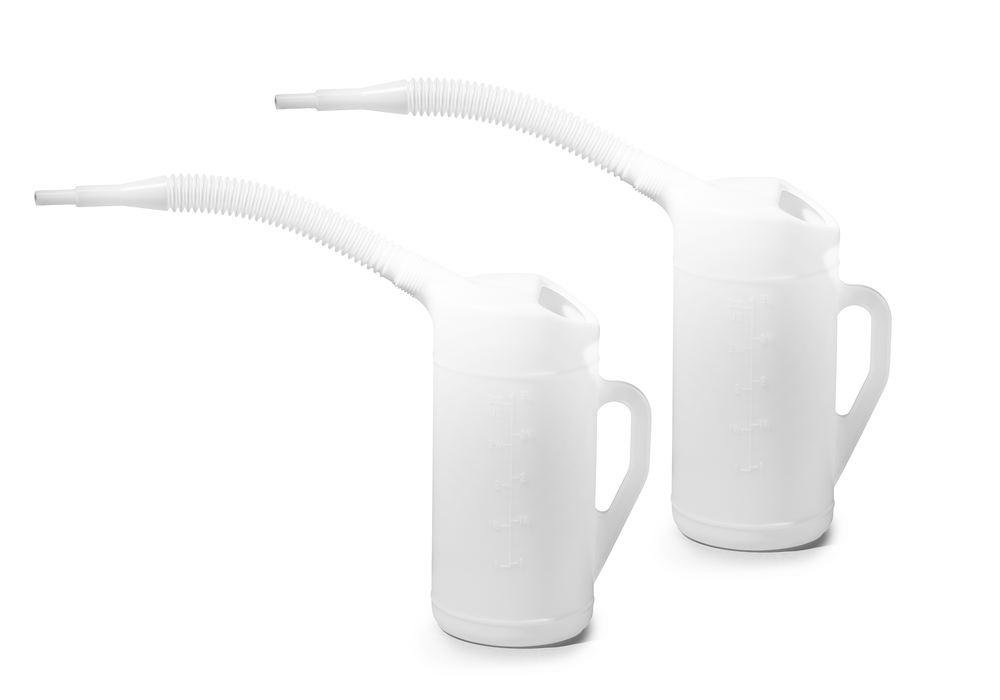 Measuring jug in PE with flexible spout, scale, 3.0 litre volume, 2 pieces
