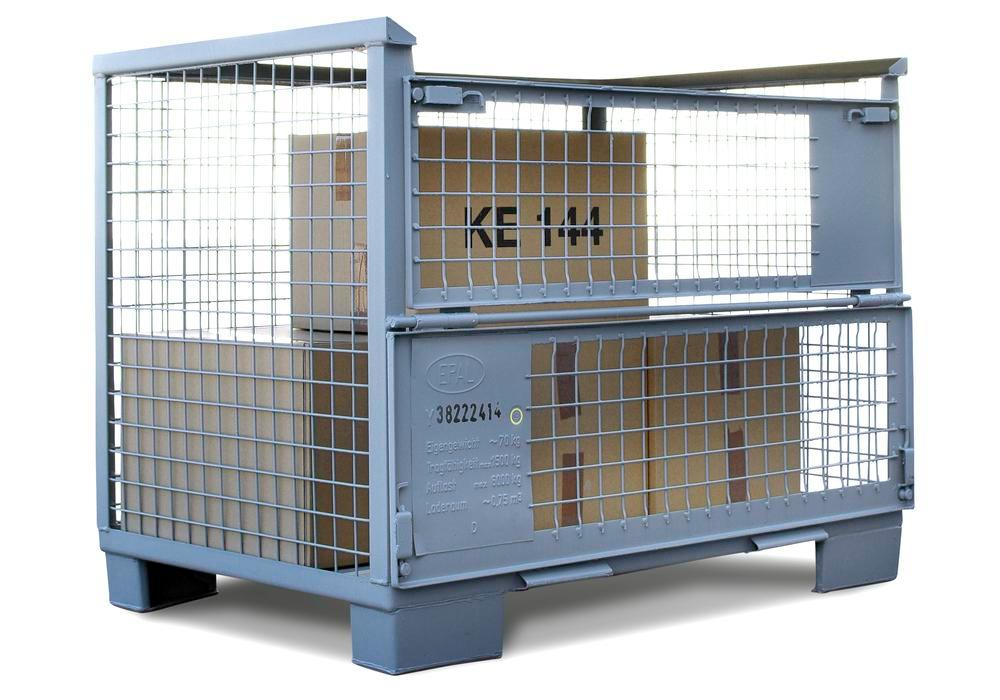 Mesh box pallet, with two flaps and two boards, according to UIC 435-3, grey - 3