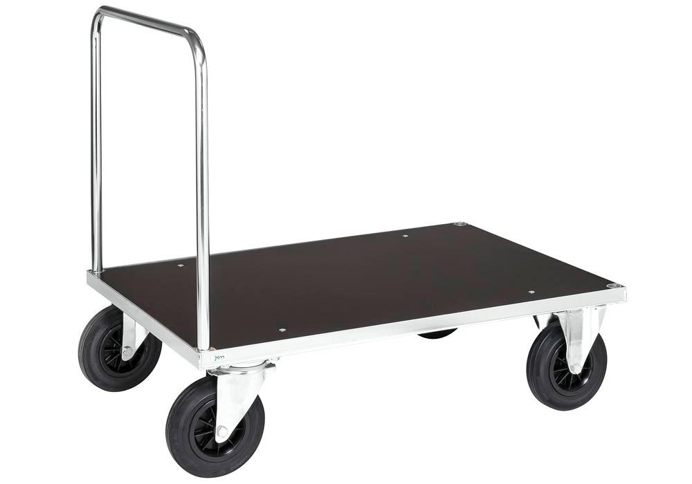 Platform trolley KM with handle, galv. MDF coated board, 500Kg, 1000x700 mm, solid rubber castors