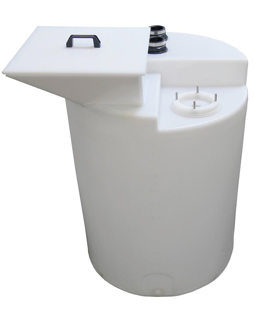 Polyethylene (PE) funnel with lid, for dosing containers from 200 litre volume