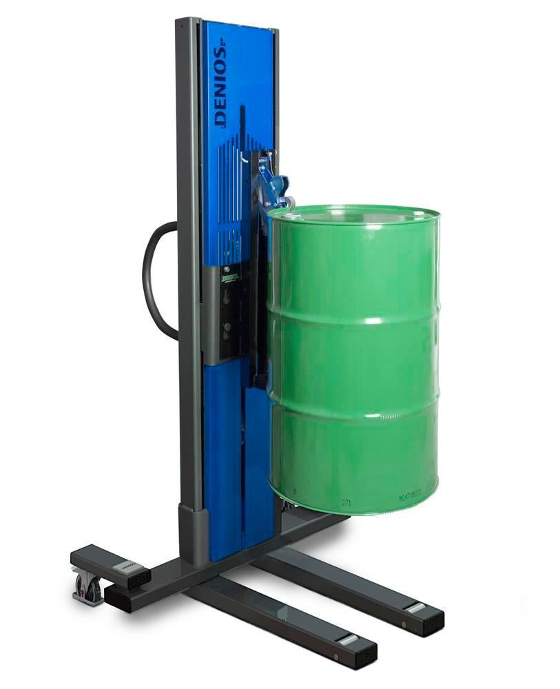 Secu drive drum lifter, narrow wheelbase, H 2135 mm, model M for 60l/205l steel drums, electric lift